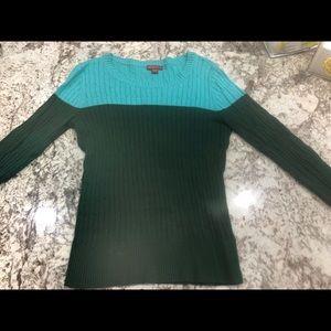 Merona teal and green sweater